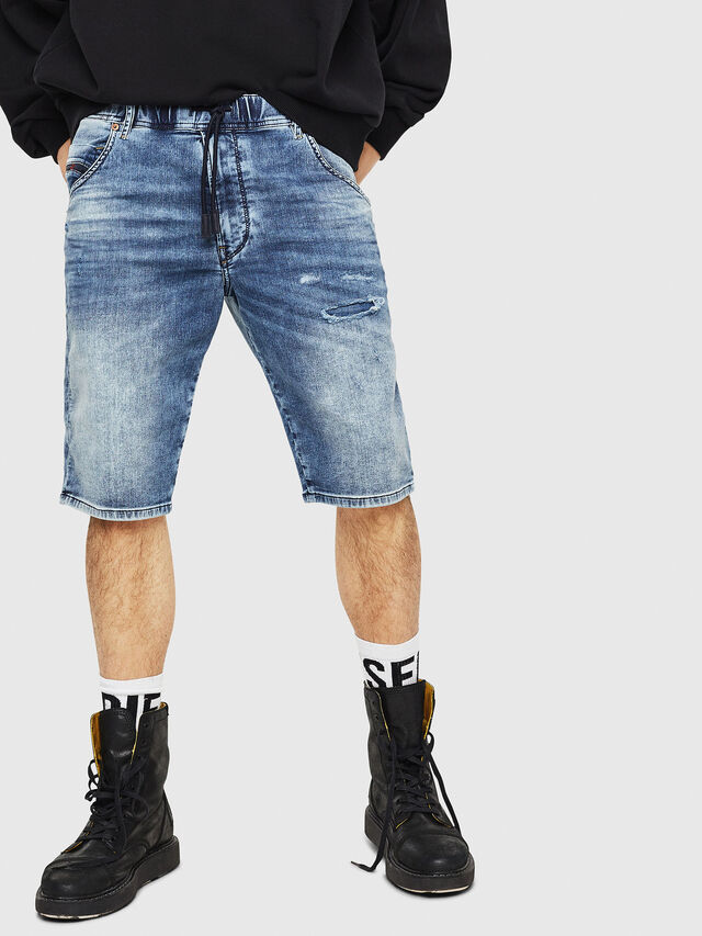 Diesel - D-KROOSHORT JOGGJEANS, Blue Jeans - Shorts - Image 1