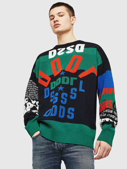 Diesel - K-RUBLO, Black/Green - Knitwear - Image 1