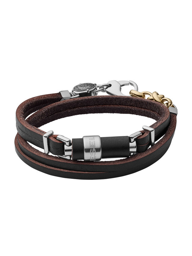 Diesel BRACELET DX1082, Black Leather - Bracelets - Image 1