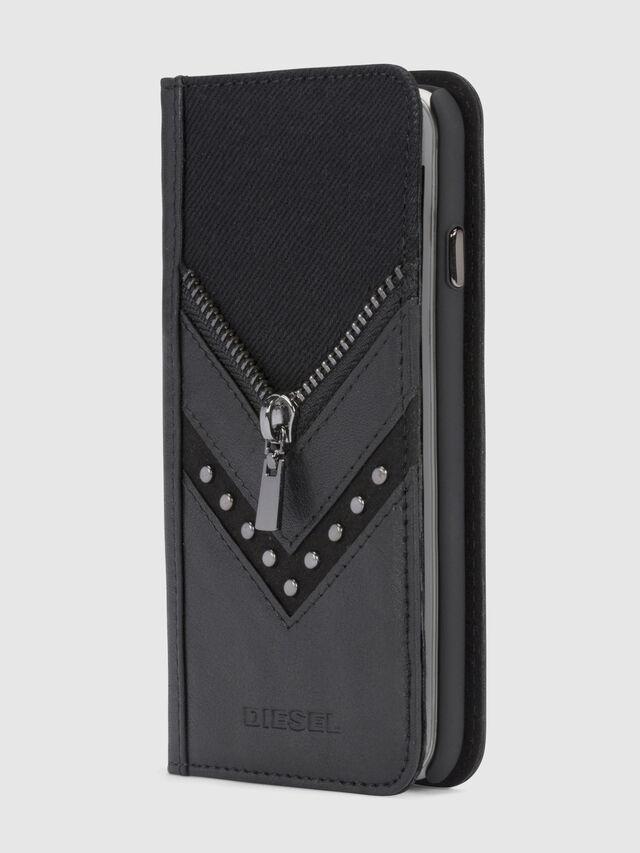 BLACK DENIM/STUD/ZIPPER IPHONE 8/7 FOLIO, Black