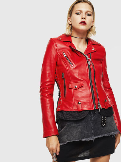 Diesel - L-CARAMA, Red - Leather jackets - Image 1
