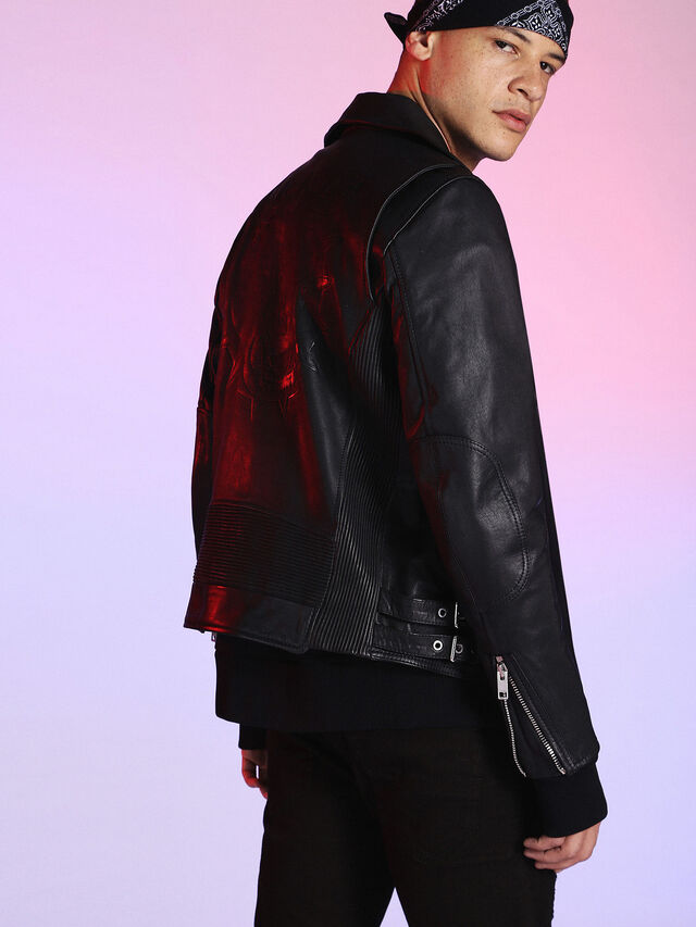 Diesel - LU-L-KRAMPS, Black - Leather jackets - Image 2