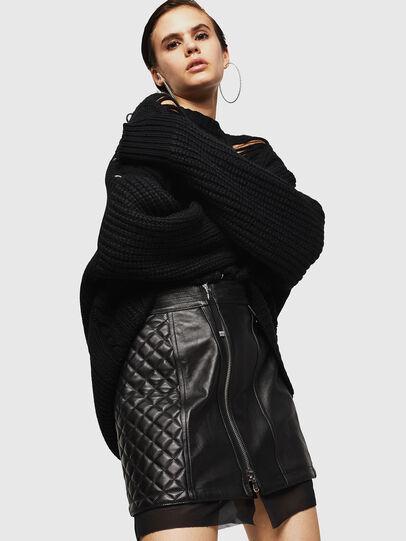 Diesel - OLESIA, Black - Leather skirts - Image 4