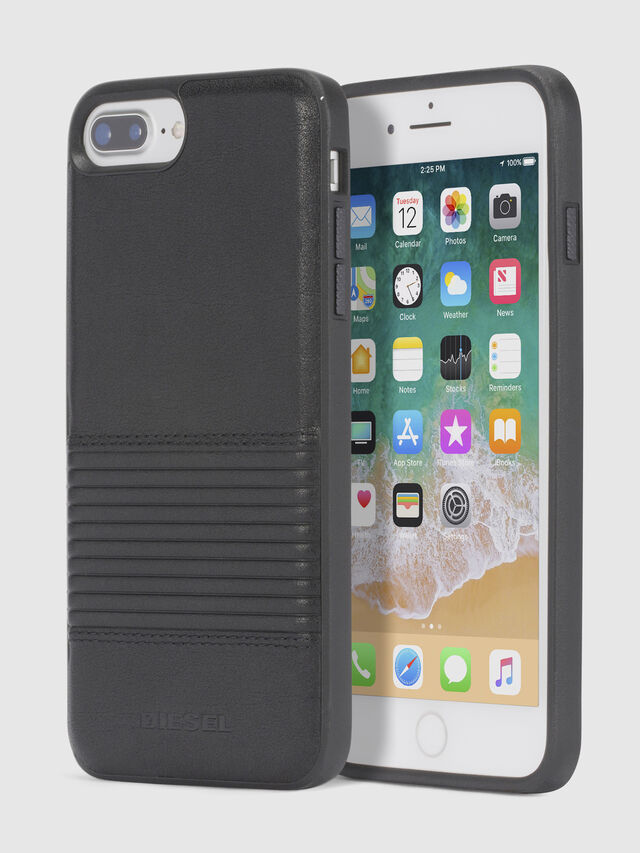 Diesel BLACK LINED LEATHER IPHONE 8 PLUS/7 PLUS/6s PLUS/6 PLUS CASE, Black - Cases - Image 1