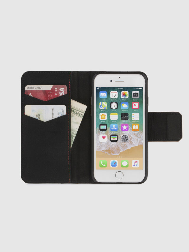 Diesel - BLACK LINED LEATHER IPHONE 8/7 FOLIO, Black - Flip covers - Image 7