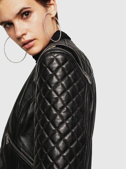 Diesel - LIVIA, Black - Leather jackets - Image 5