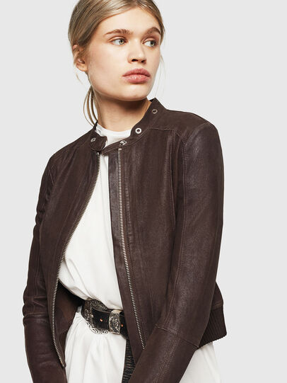 Diesel - L-LYSSA-G, Brown - Leather jackets - Image 6