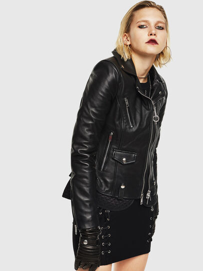 Diesel - L-CARAMA, Black - Leather jackets - Image 1