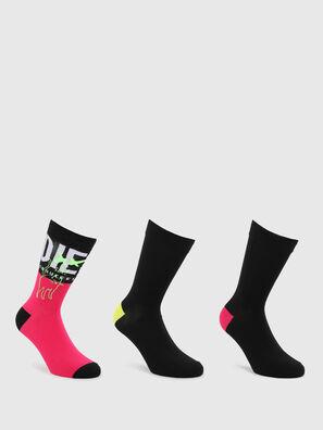 SKM-HERMINE-THREEPAC, Black/Pink - Socks