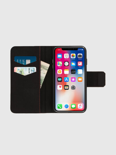 Diesel - BLACK LINED LEATHER IPHONE X FOLIO, Black - Flip covers - Image 6