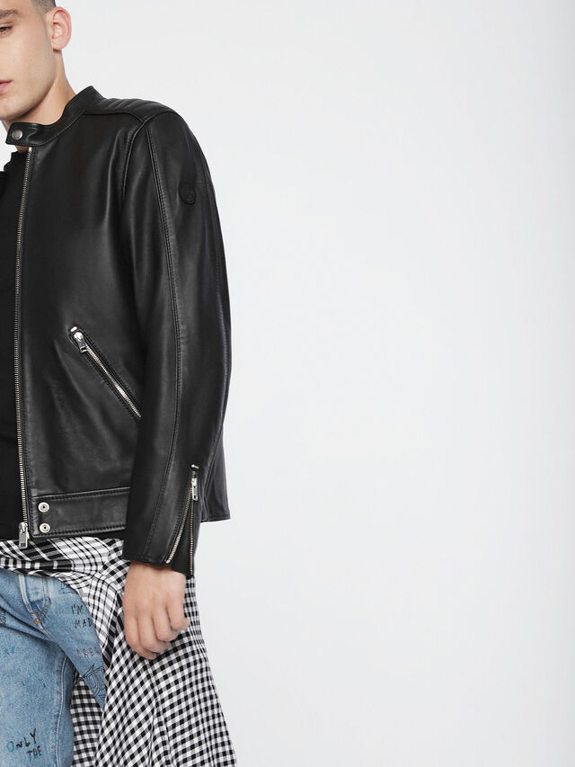 Diesel - L-QUAD, Black Leather - Leather jackets - Image 4