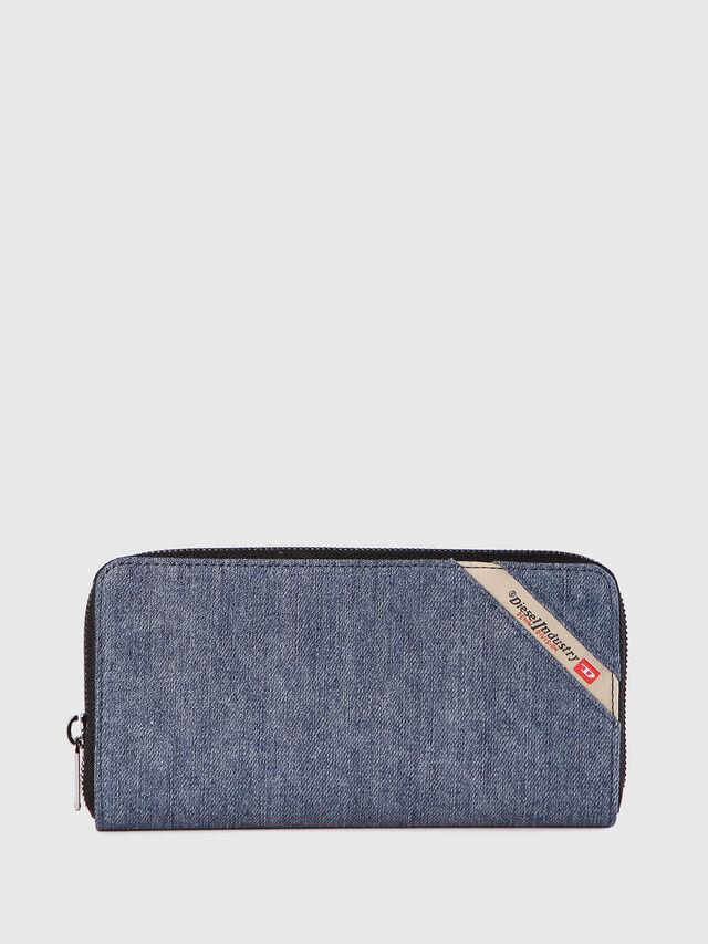 Diesel - 24 ZIP, Blue Jeans - Zip-Round Wallets - Image 1