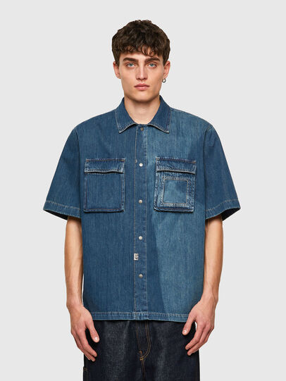 Diesel - D-GUNN-SP, Medium blue - Denim Shirts - Image 1