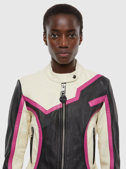 Diesel - L-JOBE, Black/White - Leather jackets - Image 3