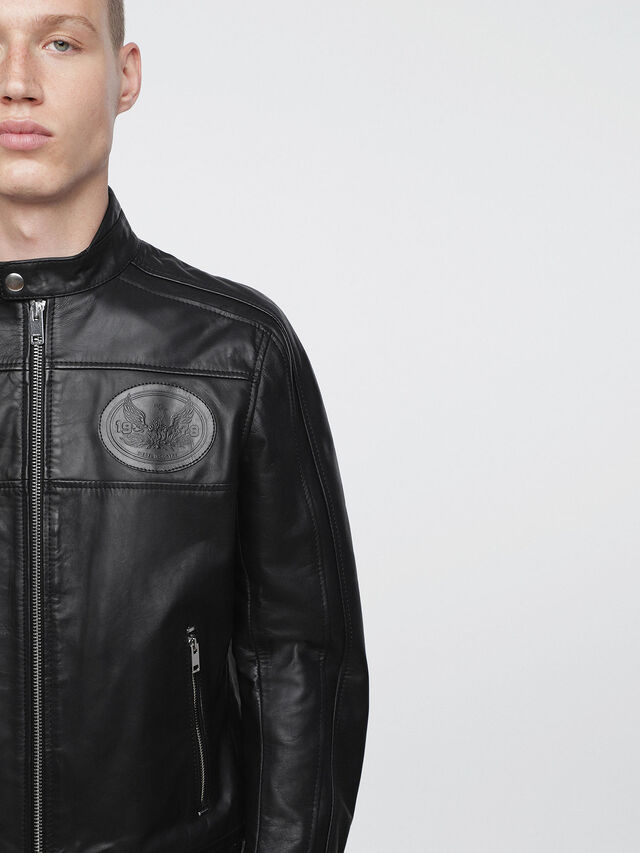 Diesel - L-STREET, Black Leather - Leather jackets - Image 3