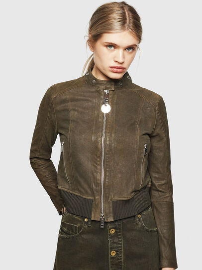 Diesel - L-LYSSA-G, Military Green - Leather jackets - Image 1