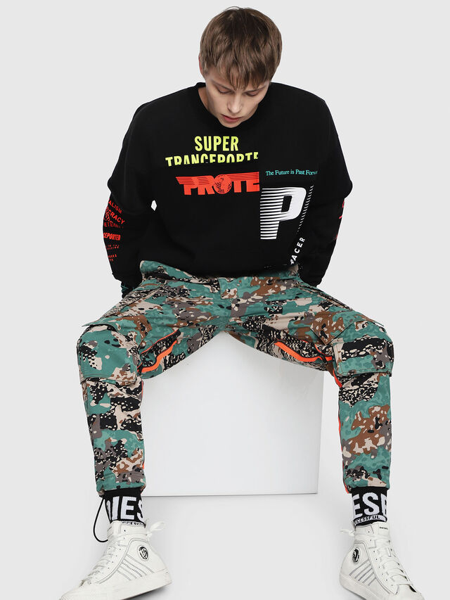 Diesel - P-LUZA-CAMOU, Green Camouflage - Pants - Image 5