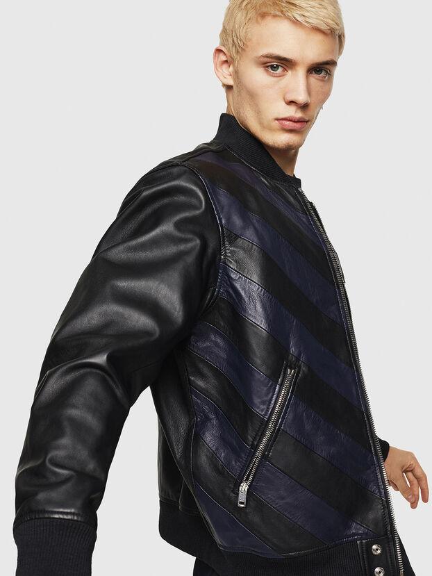 L-OLEG, Black/Blue - Leather jackets