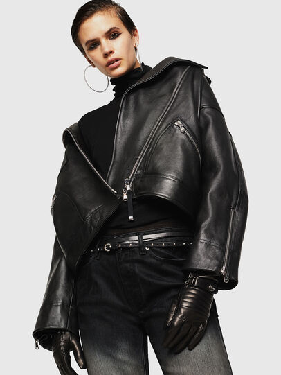 Diesel - LJESIV, Black - Leather jackets - Image 1