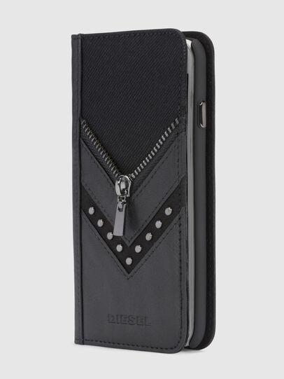 Diesel - BLACK DENIM/STUD/ZIPPER IPHONE X FOLIO, Black - Flip covers - Image 4